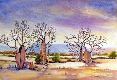 Wa Painting - Cockburn Range With Boab Trees In The Kimberley Wa by Audrey Russill