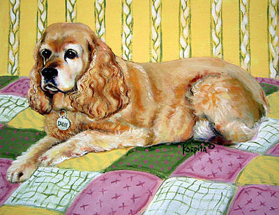 Painting - Cocker Spaniel On Quilt by Rebecca Korpita