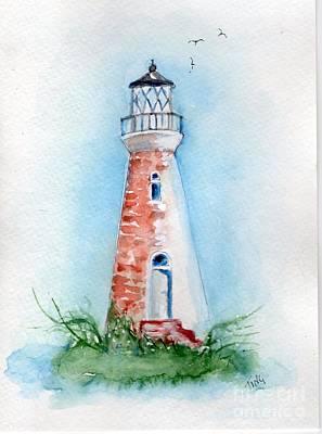 Art Print featuring the painting Cockspur Lighthouse 2 by Doris Blessington