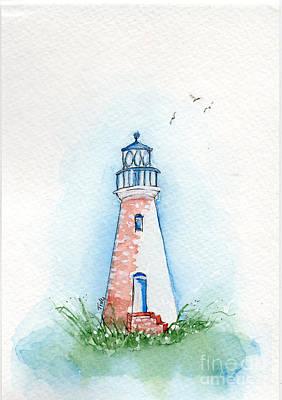 Art Print featuring the painting Cockspur Lighthouse by Doris Blessington
