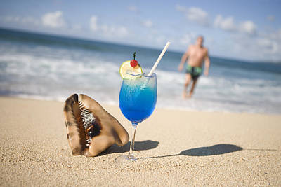 Cocktail And Shell On Beach Near Maca Bana Villas, Point Salines, St George, Grenada, Central America & The Caribbean Art Print by Holger Leue