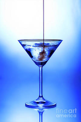 Blue Photograph - Cocktail Being Poured by Jane Rix