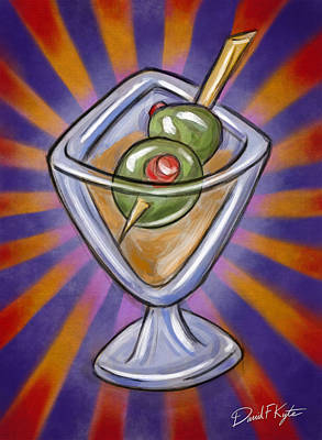 Cocktail With Olives  Art Print by David Kyte