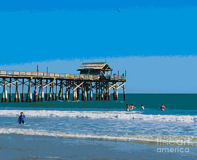 Swim Party Painting - Cocoa Beach Pier Florida by Allan  Hughes