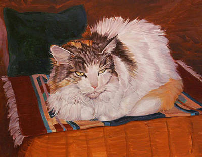 Maine Coon Cat Painting - Cody Is Just Chillin by Shawn Shea