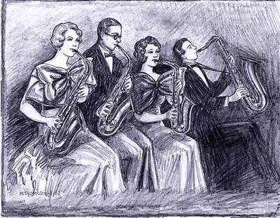 Saxophone Drawing - Coed Saxophones by Mel Thompson