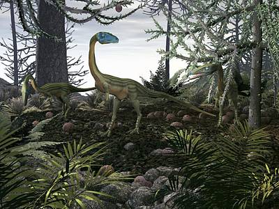 Coelophysis Photograph - Coelophysis Dinosaurs, Artwork by Walter Myers