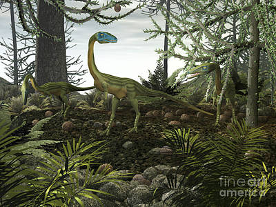 Coelophysis Dinosaurs Walk Amongst Print by Walter Myers
