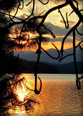 Print featuring the photograph Coeur D'alene Lake Sunset by Cindy Wright