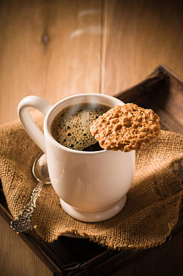 Americano Photograph - Coffee And Biscuit by Amanda Elwell