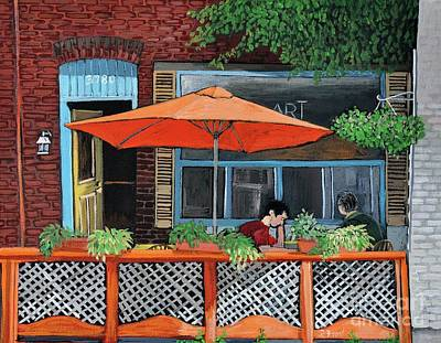 Montreal Art Verdun Street Scenes Painting - Coffee At Nu Art Cafe Verdun by Reb Frost