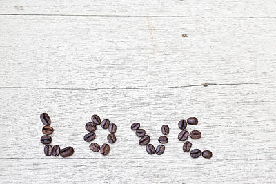 Coffee Beans And Word Of Love Art Print by Chavalit Kamolthamanon