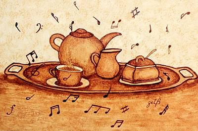 Coffee Break 2 Coffee Painting Print by Georgeta  Blanaru