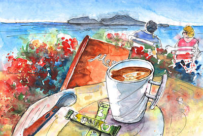 Painting - Coffee Break In Agia Georgios In Crete by Miki De Goodaboom
