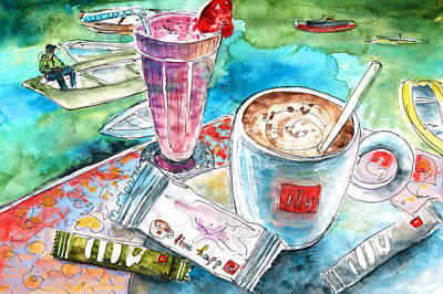 Agios Painting - Coffee Break In Agios Nikolaos In Crete by Miki De Goodaboom