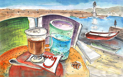 Lighthouse Drawing - Coffee Break In Chania In Crete by Miki De Goodaboom
