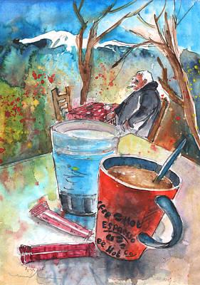 Painting - Coffee Break In Omalos In Crete by Miki De Goodaboom