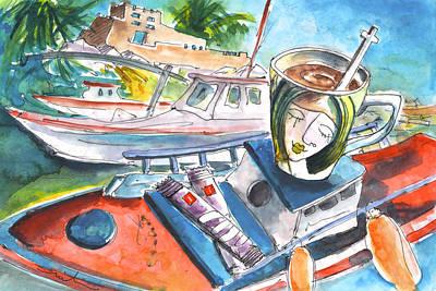 Painting - Coffee Break In Sitia In Crete by Miki De Goodaboom