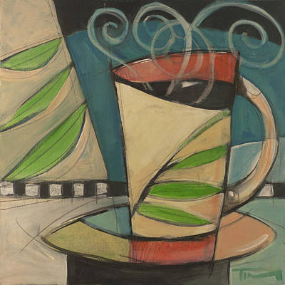 Cafe Painting - Coffee Cup With Leaves by Tim Nyberg