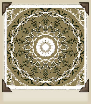 Steampunk Royalty-Free and Rights-Managed Images - Coffee Flowers 1 Olive Medallion Scrapbook by Angelina Vick