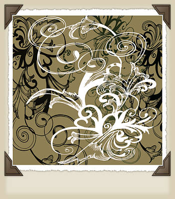 Steampunk Royalty-Free and Rights-Managed Images - Coffee Flowers 1 Olive Scrapbook by Angelina Vick