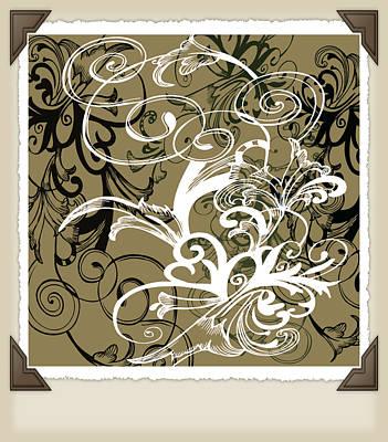 Coffee Flowers 1 Olive Scrapbook Art Print by Angelina Vick