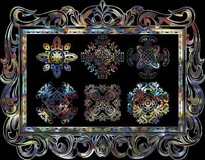 Coffee Flowers Ornate Medallions 6 Piece Collage Aurora Borealis Art Print by Angelina Vick
