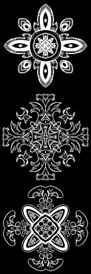 Digital Art - Coffee Flowers Ornate Medallions Bw Vertical Tryptych 1 by Angelina Vick