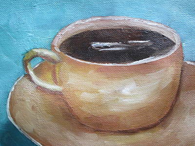 Abstract Oil Paintings Color Pattern And Texture - Coffee in brown cup by Patricia Cleasby