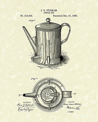 Potted Drawing - Coffee Pot 1889 Patent Art  by Prior Art Design
