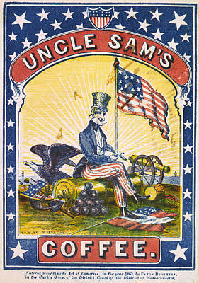 Coffee, Uncle Sams Coffee, Illustrated Art Print by Everett