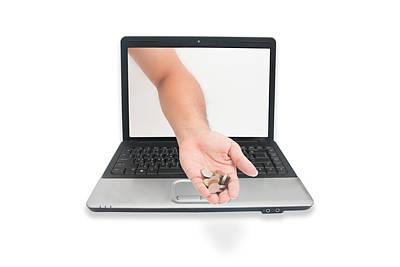 Coin On A Hand  Through A Laptop Original