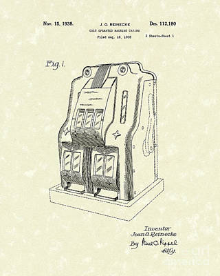 Drawing - Coin Operated Casino Machine 1938 Patent Art by Prior Art Design