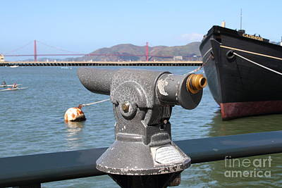 Coin Operated Telescope On The Hyde Street Pier Looking Out To The San Francisco Golden Gate Bridge  Print by Wingsdomain Art and Photography