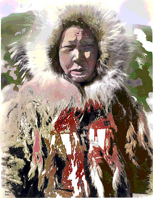 Art Print featuring the mixed media Cold Man by Charles Shoup