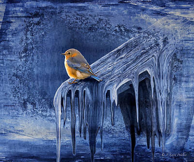 Digital Art - Cold Winter Morning - Blue Bird by J Larry Walker