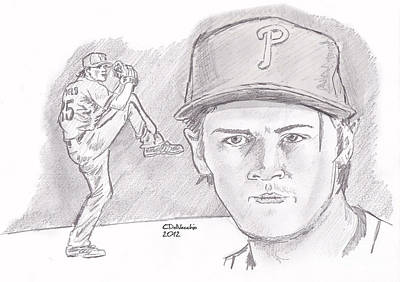 Print featuring the drawing Cole Hamels by Chris  DelVecchio