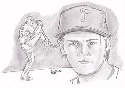 Drawing - Cole Hamels by Chris  DelVecchio