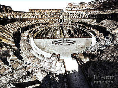 Coliseum  - Bleached Version Art Print by Gregory Dyer