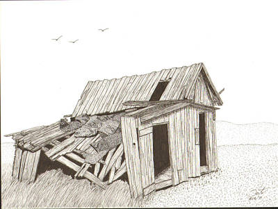Old Barn Pen And Ink Drawing - Collapsed by Pat Price