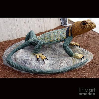 Faducci Sculpture - Collared Lizard At Northwest Library  Oklahoma City  Ok by Faducci- Solomon Bassoff Domenica Mottarella