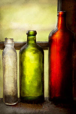 Collector - Bottles - Still Life Of Three Bottles  Art Print by Mike Savad
