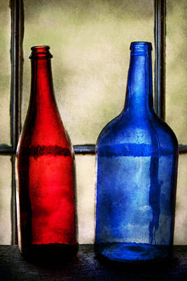 Vino Photograph - Collector - Bottles - Two Empty Wine Bottles  by Mike Savad