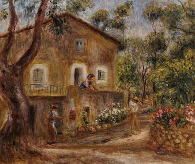 White Flowers Painting - Collette's House At Cagne by Pierre Auguste Renoir