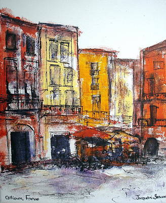 Collioure - La Place Art Print by Jackie Sherwood