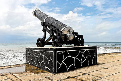 Colombo Cannons On Seashore Art Print by Kantilal Patel