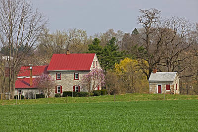 Photograph - Colonial Limestone Farmhouse And Summer Kitchen Spring by John Stephens