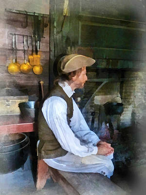 Photograph - Colonial Man In Kitchen by Susan Savad