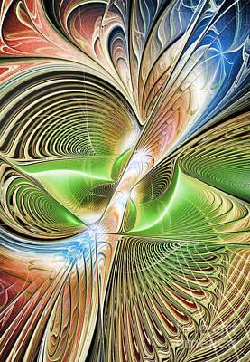 Curves Digital Art - Color Etchings Of The Heart by Deborah Benoit