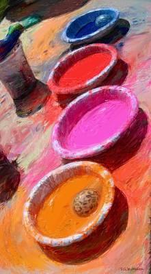 Color Paint Bowls Art Print by RG McMahon